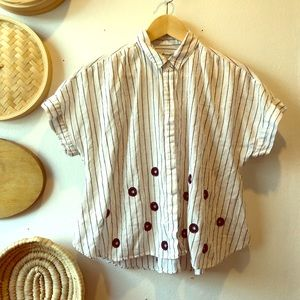 Madewell striped button down with embroidery
